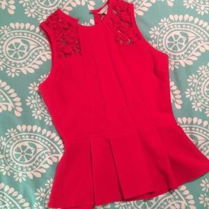 H&M Red Peplum Top With Lace Detail